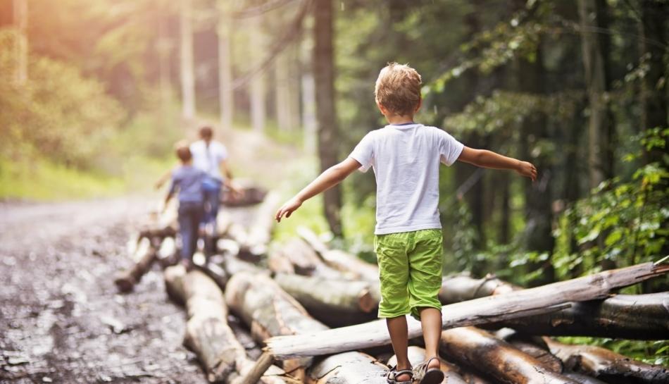 Bambino che si tiene in equilibrio su un tronco