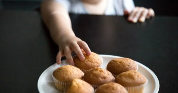 Mano di un bambino che afferra un dolce senza glutine