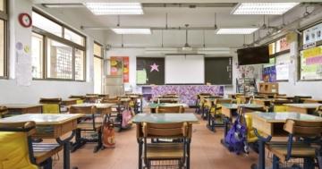 visuale di una classe scolastica vuota